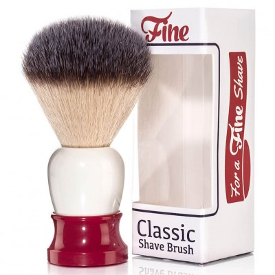 Fine Classic Angel Hair Fiber Shave Brush Red/White